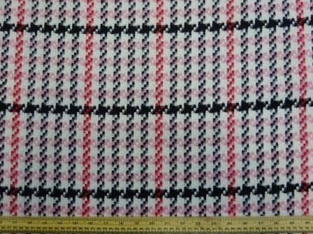 Jacketing Fabric Boucle Pink Bubble Gum Check