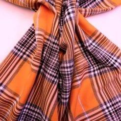 Tartan Suiting Fabric Happy Check Orange