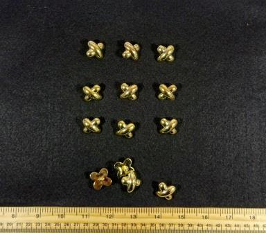 Gold Buttons Criss Cross 2cm Code Jam