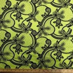 Cotton Sateen Fabric Lime Flower Tastic