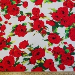 Linen Look Cotton Fabric Rock Star Roses