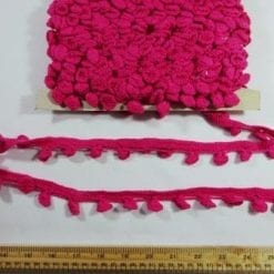 Crochet Bobble Fringe Trimming cerise