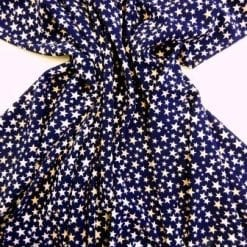Polyester Stretch Fabric Navy Fantastic Stars