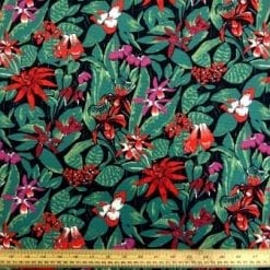 Stretch Corduroy Fabric Floral Jungle Garden