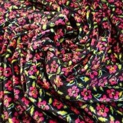 Velour Spandex Fabric Pink Floral Josie