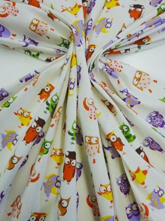Cotton Canvas Fabric Wise Owls