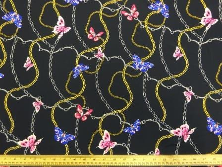 Crepe De Chine Fabric Chain Rose Butterfly