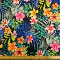 Scuba Jersey Fabric Tropical Punch Papaya