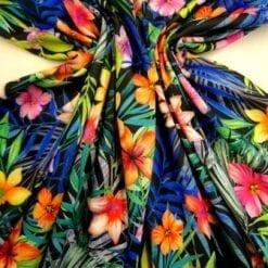 Scuba Jersey Fabric Tropical Punch Papaya