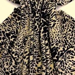 Satin Fabric Tan Leopard Crystal Pleating