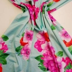 Jersey Fabric Floral Bouquet Of Flowers Mint