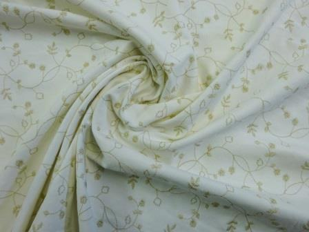 Corduroy Fabric Embroidered Ivory Gold