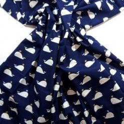 Cotton Fabric Whales Navy