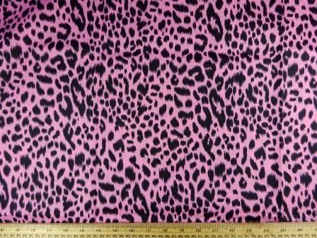 Cotton Fabric Print Zany Leopard pink