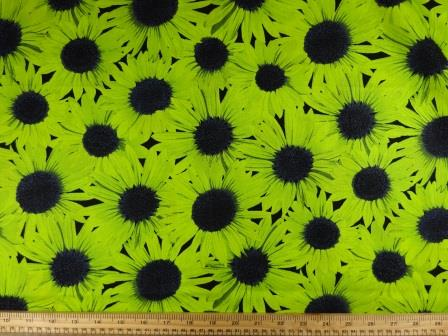 Cotton Fabric Sunflower Frenzy lime