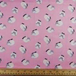 Cotton Fabric Print Suzy Sheep Pink