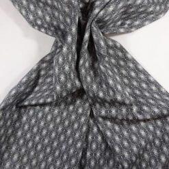 Cotton Fabric Print Monochrome Optical Lace black with white lace