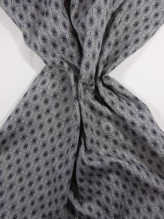 Cotton Fabric Print Monochrome Optical Lace white with black lace