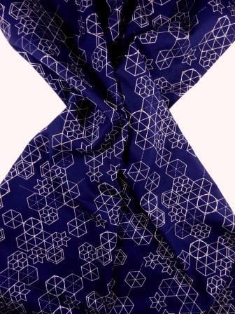Cotton Fabric Print Geometric Shape Up navy