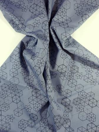 Cotton Fabric Print Geometric Shape Up grey