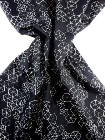 Cotton Fabric Print Geometric Shape Up black