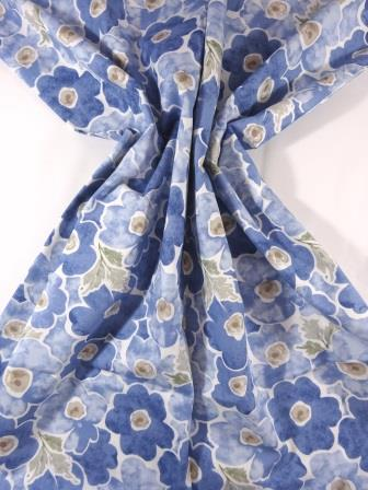 Cotton Fabric Print Pansy Daydream pale blue