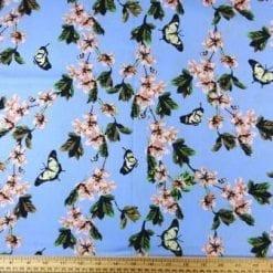 Cotton Fabric Apple Blossom blue