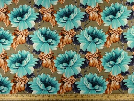 Cotton Fabric Caribbean Carnation jade