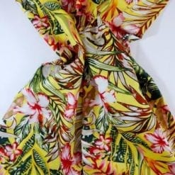 Cotton Fabric Bali Tropical Flower yellow