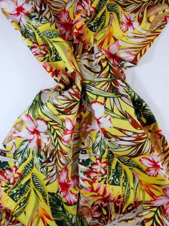 Cotton Fabric Bali Tropical Flower yellow