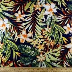 Cotton Fabric Bali Tropical Flower navy