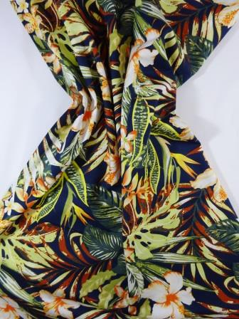 Cotton Fabric Bali Tropical Flower navy