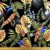 Cotton Fabric Hibiscus Tropical Leaf black