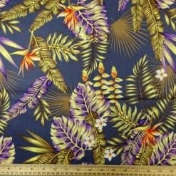 Cotton Fabric Hibiscus Tropical Leaf grey