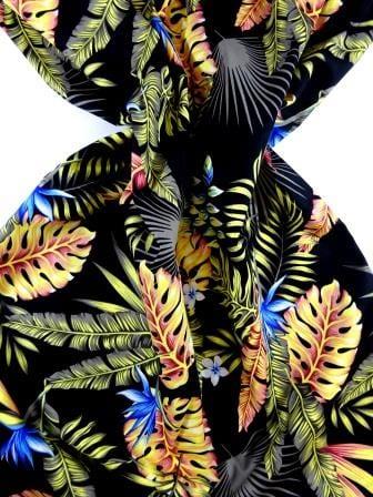 Cotton Fabric Hibiscus Tropical Leaf black