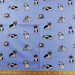 Cotton Fabric Print Puggy Dogs pale blue
