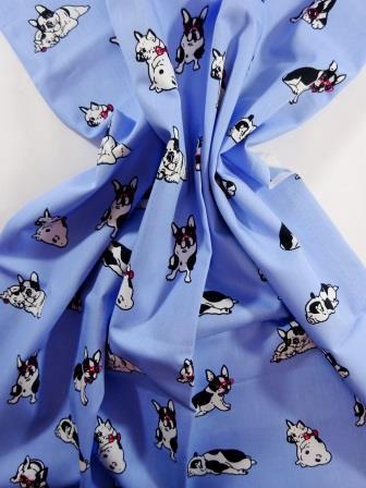 Cotton Fabric Print Puggy Dogs pale blue