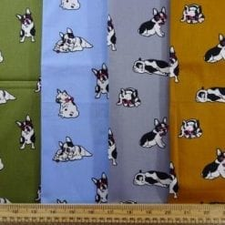 Cotton Fabric Print Puggy Dogs