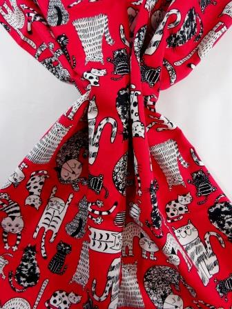 Cotton Fabric Cats Go Wild Red