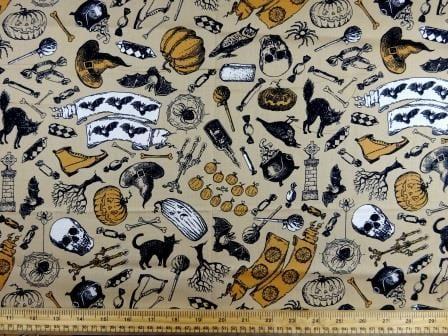 Cotton Fabric Halloween Print beige