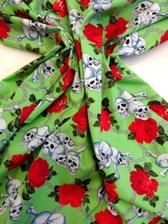 Cotton Fabric Skull Chained Rose apple