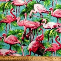 Cotton Fabric Flamingos turquoise
