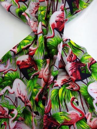 Cotton Fabric Flamingos grey