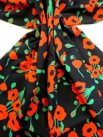 Cotton Fabric Poppy 100% Cotton black