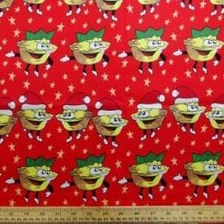 Cotton Fabric Mince Pies red