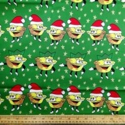 Cotton Fabric Mince Pies green