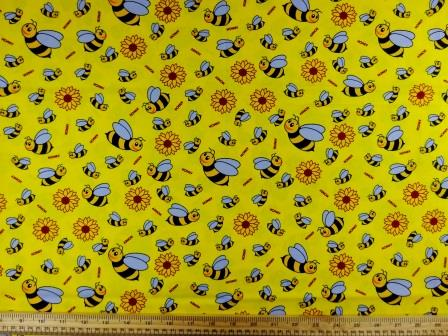 Cotton Printed Fabric Yellow Bees