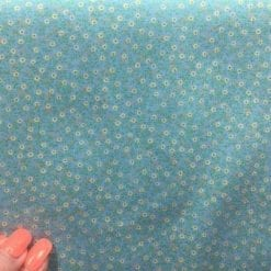 Cotton Fabric Floral Spice Aqua
