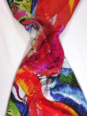 Viscose Fabric Modern Art white/pink