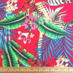 Viscose Fabric Aruba Leaf cerise
